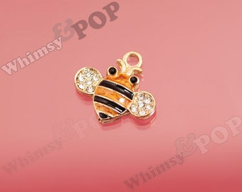 Cute As A Bug Busy Honey Bee Gold Tone Crystal Rhinestone Charm, Bee Charm, Bumble Bee Charm, Bug Charm 18mm x 15mm (4-1B)