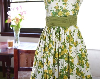 1950s green, yellow and white floral dress
