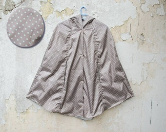 Polka Dot Gray Raincoat, Grey and Mint, Vintage Inspired Cape with Hood, Waterproof, Unisex Rain Jacket, Gift For Her