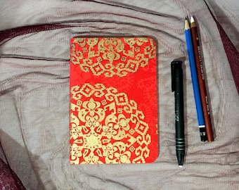 Small Blank Notebook with Red and Gold Pattern Cover