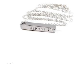 Gemini Zodiac Bar Necklace, Constellation Necklace, Silver, Zodiac Jewelry, Unisex, Long Necklace, Zodiac Pendant, Birthday