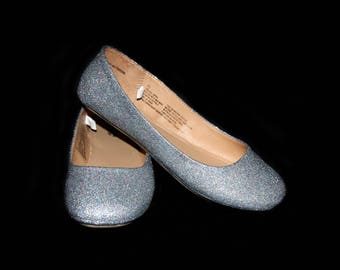 Wedding shoes Holographic Silver wedding shoes silver shoes silver flats platinum flat shoes bridal shoes silver shoes custom shoes glitter