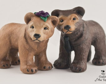 Bear Wedding Cake Topper - Pick your Colors - Realistic Bear Sculpture