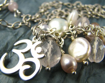 Ohm Necklace, Ohm Charm, Ohm Jewelry, Yoga Necklace, Yoga Jewelry, Om Charm Necklace, Ohm Symbol, Cluster Necklace, Pearl Necklace, Healing