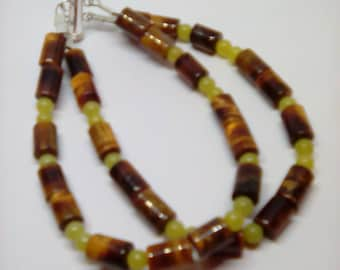 Tiger eye and lemon jasper with silver clasp. Bracelet