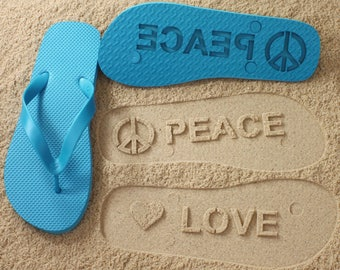 Peace and Love Flip Flops Sand Imprint *check size chart, see 3rd product photo*