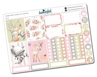 Woodland Friends Kit Sampler | KS12 | Planner Stickers for Erin Condren Vertical Planners - Physical Item | The Hummingbird Planner