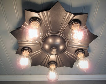 "Vintage Antique Rare Flush Mount Art Deco Light  Cast Iron Star Ceiling Light Five Light 15"" Diameter"