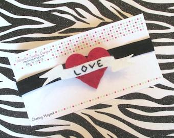 Headband Rockabilly Tattoo Mom heart banner hair clip headband set U CHOOSE MoM or LoVe Valentines Mothers Day baby girl hair accessories