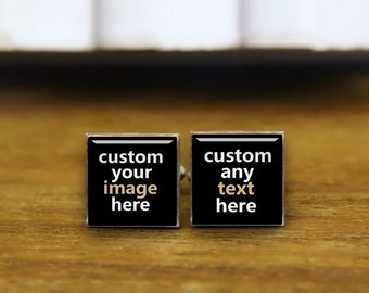 Custom Image or Photo Cufflinks, Custom Your Wording, Round, Square Cufflinks & Tie Clips. Wedding Cuff Links, Customized Cufflinks For Him