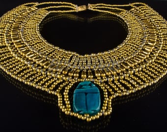 Pretty Egyptian Beaded Cleopatra Large Scarabs Necklace Collar