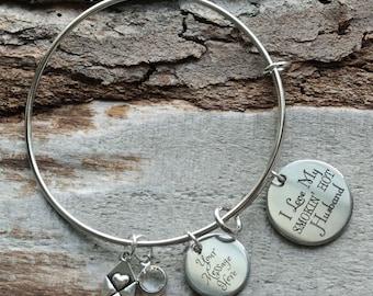 I Love My Smokin Hot Husband Wire Adjustable Bangle Bracelet