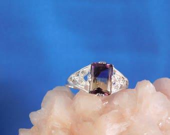 2.27 ct. Emerald Cut Bicolor Ametrine and Diamond Ring Sterling Silver Art Deco Style