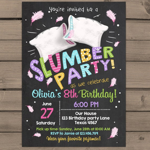 It's just a photo of Versatile Printable Slumber Party Invitations