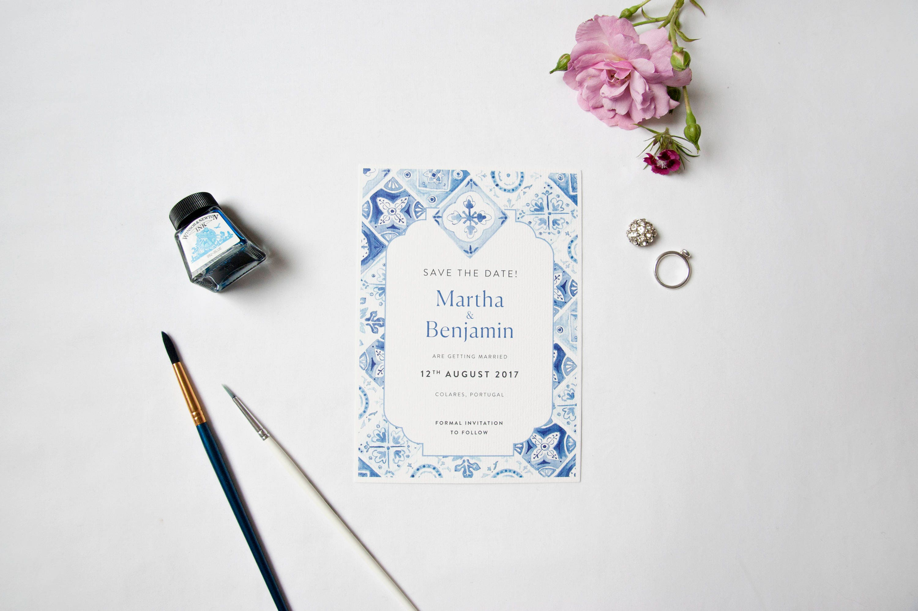 1 x Blue White Portuguese Tiles Save the Date with white