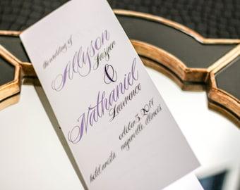 "Purple and Grey Wedding Programs, Script Program, Special Event Program, Wedding Booklet - ""Sweeping Script"" Booklet Program - DEPOSIT"