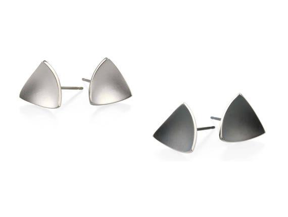 Triangle Dome Titanium Stud Earrings, 100% Hypoallergenic, Sensitive ear