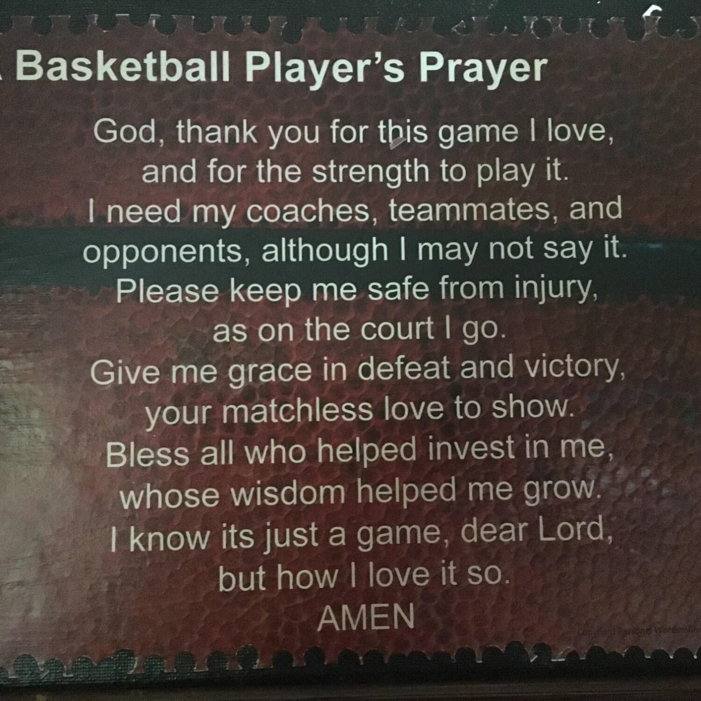 Super Basketball Player's Prayer Mounted Basketball Poem on YX97