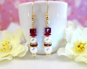 Christmas Snowman Swarovski crystal pearl earrings, Frosty the Snowman ivory pearl earrings, Olaf Frozen red white earrings