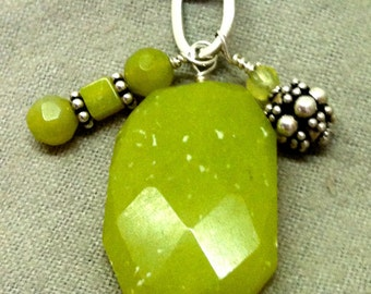 Healing Amulet of Spiritual Growth, Prehnite, PENDANT ONLY, chain NOT included