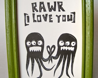 MONSTER I LOVE YOU art print for baby kids boyfriend girlfriend prints