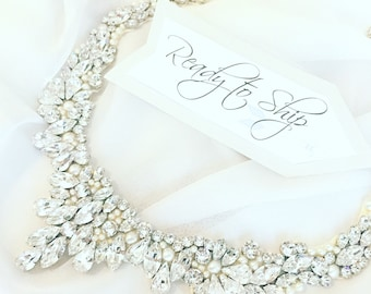 RTS Statement wreath collar necklace, Rhinestone Bridal Bib Necklace, wedding Necklace, handmade rhinestone necklace, collar necklace