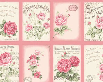 RURU Bouquet Rose For You  Cotton Fabric Quilt Gate RU2220-11B Postcards on Pink