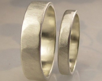 Recycled Palladium Sterling Silver Wedding Bands Set