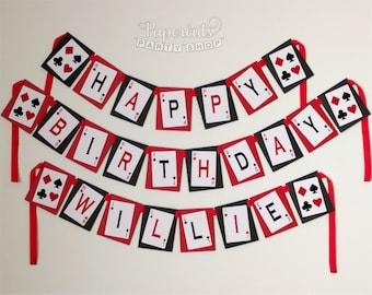 Casino Night Poker Theme Personalized Happy Birthday Party Banner
