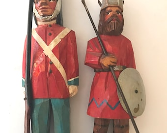 Wooden Vintage Hand Made Wood Carving of Viking and Soldier Primitive Folk Art- Figures
