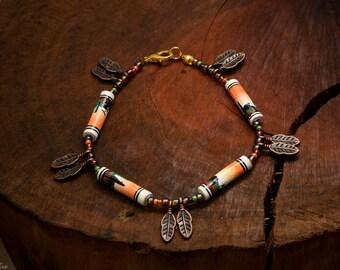 Brown Earth Desert Cacti Llamas Copper Leaves Leaf Earrings FairTrade Peruvian Peru Beads Ceramic Handmade Brown Geometric Bohemian Pattern