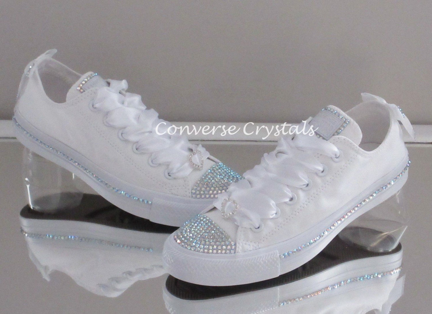 5209eb30a1ae Bridal Mono White Custom Crystal  Bling  Converse With Side ...