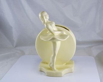Royal Haeger Ballerina Planter - Matte White  - Vintage 1940s Flower Vase - Art Deco Style Full Moon