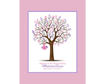 Guest Book Alternative, Baby Shower Thumbprint Tree, Baby Guestbook, Baby Boy or Baby Girl Nursery Wall Art ALL SIZES