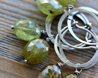 Green Garnet Gemstone Dangle Earrings, Sterling Silver Hoop Earrings, Handmade Garnet Earring, Boho Drop Earrings