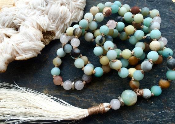108 Petite Amazonite Mala Beads and Rose Quartz Heart Chakra, 108 Healing Mala Beads,  Tassel Necklace, Yoga Jewelry