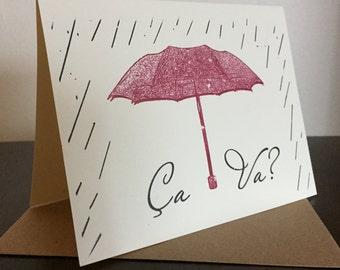 Ca Va - Gocco Screen-Printed Greeting Card