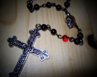 Gothic skull rosary with red and black beads.  RO-26-001