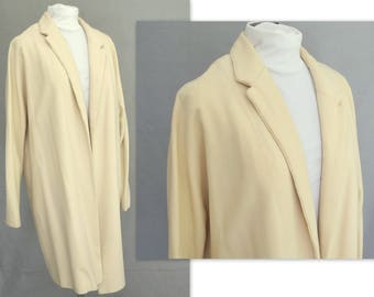 Cream Lightweight Coat; Lined, Handmade Outerwear; Modern Size 14, Large