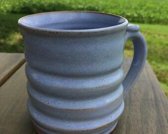 Handmade pottery mug, coffee, hot chocolate. Blue 14oz