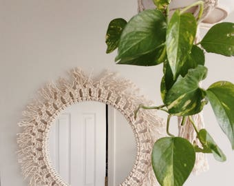 Macrame Mirror, modern macrame decor