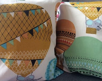 Pair of animal in balloons cushion covers