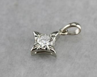 Diamond Pendant in White Gold, Small Diamond Pendant, Diamond Anniversary 8E6VCK1L-N