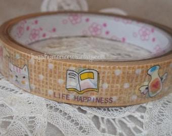 Deco Tape Kawaii Life Happiness 15m