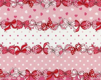 """Ribbon Line Dance PINK 100% Cotton Broadcloth ~ 42"""" Wide ~ Sold by the Yard"""