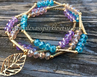 Set of three crystal bead bracelets-sky blue- light purple-cristal colors