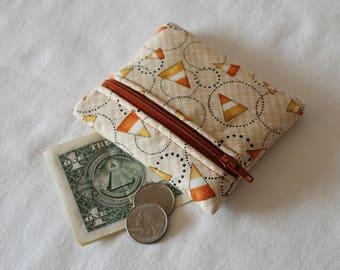 Coin Purse, Zipper Pouch, Change Purse, change pouch, wallet, candy corn,  primitive, Halloween, Autumn, fall, whimsical