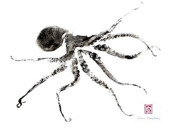 8 x 10 Hawaiian Octopus Tako Gyotaku Print in Black Mat