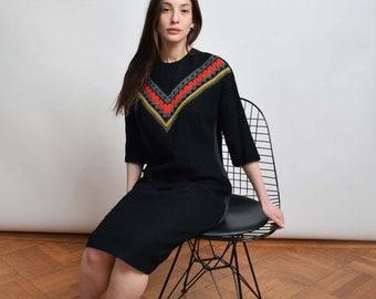 1960s Black Wool Sheath Dress with Knit Yoke 60s Vintage Dress S M