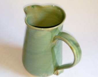 Green Ceramic Pitcher  - Wheel Thrown Pottery